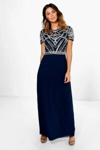 Womens Boutique Embellished Top Maxi Dress - navy - 14, Navy
