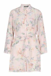 Womens Floral Shirt Dress - Pink - 8, Pink