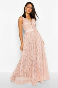 Womens Boutique All Lace Plunge Neck Maxi Dress - Pink - M, Pink