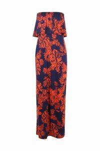 Womens Palm Printed Bandeau Detail Maxi Dress - multi - 16, Multi