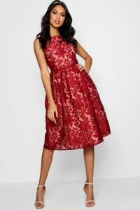 Womens Boutique Embroidered Organza Skater Dress - 12, Red