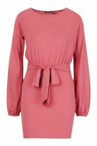 Womens Rib Tie Belt Bodycon Mini Dress - pink - 16, Pink