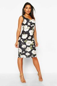Womens Floral Sweetheart Midi Dress - black - 16, Black