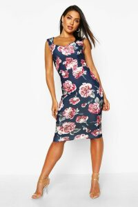 Womens Floral Sweetheart Midi Dress - navy - 16, Navy
