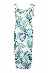 Womens Cupped Palm Print Midi Dress - white - 12, White