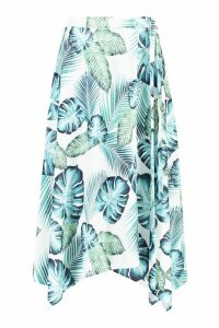 Womens Hanky Hem Palm Print Midi Skirt - white - 14, White
