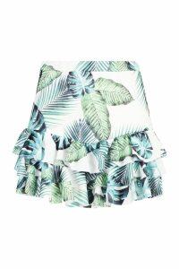 Womens Ruffle Hem Palm Print Flippy Shorts - white - 16, White