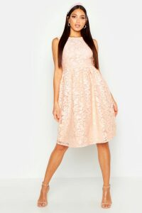 Womens Boutique Embroidered Organza Skater Dress - pink - 14, Pink