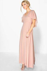 Womens Chiffon Cape Detail Maxi Dress - pink - 16, Pink