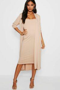 Womens Bandeau Dress & Duster Co-Ord Set - beige - 10, Beige