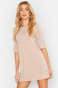 Womens Rib Frill Sleeve Smock Dress - beige - 8, Beige