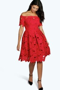 Womens Boutique Off Shoulder Lace Skater Dress - red - 16, Red