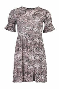 Womens Snake Print Smock Dress - brown - 12, Brown