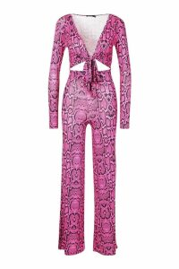 Womens Slinky Snake Print Knot Front Co-Ord Set - Pink - M/L, Pink