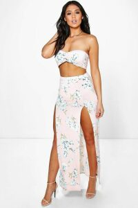 Womens Floral Bandeau & Maxi Skirt Co-Ord Set - pink - 14, Pink