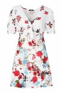 Womens Woven Mixed Floral Bias Cut Mini Dress - Pink - 10, Pink