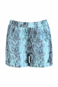 Womens Snake Print Tailored Shorts - blue - 12, Blue