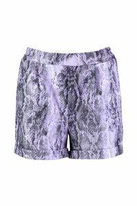 Womens Snake Print Tailored Shorts - purple - 14, Purple