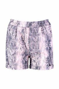 Womens Snake Print Tailored Shorts - Pink - 12, Pink