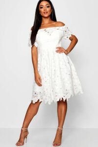Womens Boutique Off Shoulder Lace Skater Dress - white - 18, White