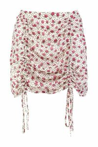 Womens Floral Ruched Mini Skirt - white - 14, White