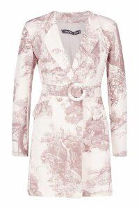 Womens All Over Print Belted Blazer Dress - beige - 12, Beige