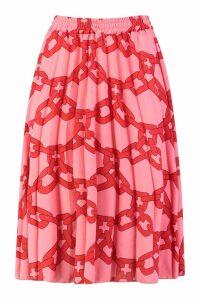 Womens Chain Print Midi Skirt - Pink - 10, Pink