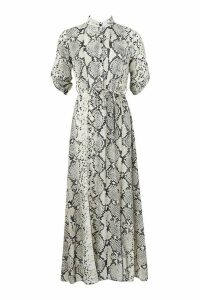 Womens Snake Print Belted Maxi Shirt Dress - beige - 14, Beige