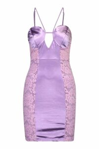 Womens Lace Satin Mini Halterneck Dress - purple - 12, Purple