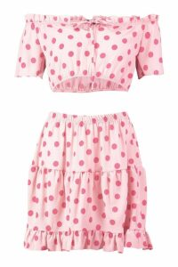 Womens Polka Dot Bardot Top & Ruffle Mini Skirt Co-Ord - Pink - 6, Pink