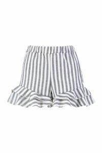 Womens Ruffle Hem Linen Stripe Shorts - blue - 14, Blue
