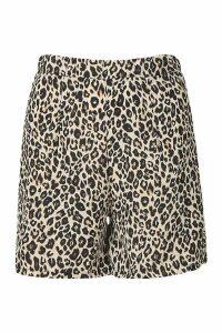 Womens Leopard Print Flippy Short - brown - 14, Brown