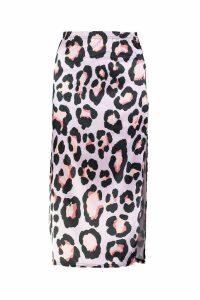 Womens Satin Leopard Side Split Midaxi Skirt - purple - 14, Purple