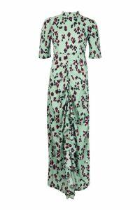 Womens High Neck Ruffle Front Animal Print Maxi Dress - green - 12, Green