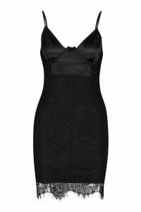 Womens Satin & Lace Bodycon Dress - black - 10, Black