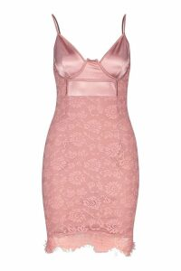 Womens Satin & Lace Bodycon Dress - pink - 6, Pink