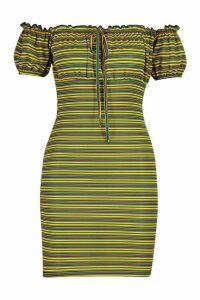 Womens Rib Stripe Bardot Peasant Mini Dress - yellow - 14, Yellow