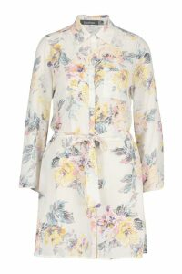 Womens Floral Shirt Dress - white - 16, White