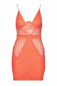 Womens Strappy Cupped Lace Bodycon Dress - orange - 10, Orange
