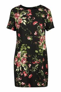 Womens Floral Print Short Sleeve Shift Dress - black - 8, Black
