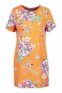 Womens Floral Print Short Sleeve Shift Dress - orange - 16, Orange