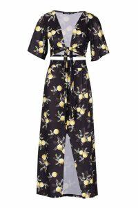 Womens Lemon Print Wrap Top & Split Midaxi Skirt Co-Ord - black - 14, Black