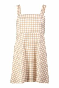 Womens Gingham Ruffle Strap Skater Dress - Beige - 8, Beige