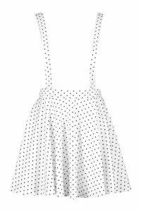Womens Polka Dot Pinafore Skirt - white - 12, White