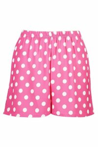 Womens Polka Dot Flippy Shorts - Pink - 14, Pink