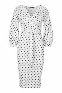 Womens Polka Dot Off Shoulder Wrap Midi Dress - white - 8, White