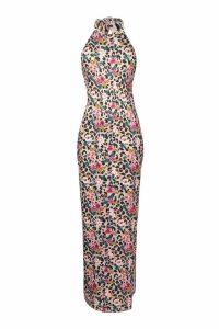 Womens Tie Neck Floral Animal Print Maxi Dress - beige - 14, Beige
