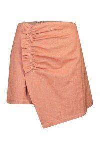 Womens Ruched Detail Linen Skirt - orange - 14, Orange