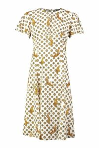 Womens Coin Print Split Front Midi Dress - white - 8, White