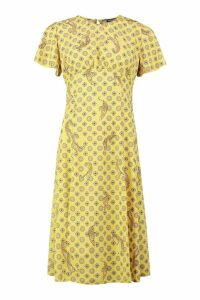 Womens Coin Print Split Front Midi Dress - yellow - 12, Yellow